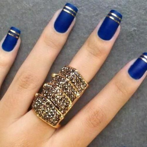 Paint your nails blue with a little bit of lace nail art design. The laces  are painted in white polish with a little red ribbon tied around it and a  white ... - Royal Blue Nail Art Designs 2016 Fashion Newby's
