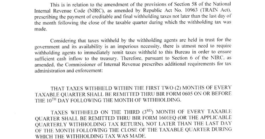 TAX ADVISORY: Deadline on Expanded Withholding Tax (BIR