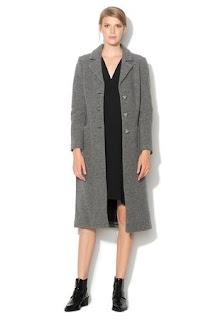 palton de firma lung de iarna de dama gri din lana