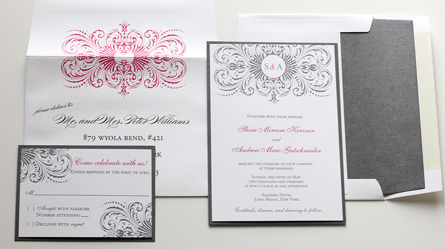 Hot Pink Gray Wedding Invitations