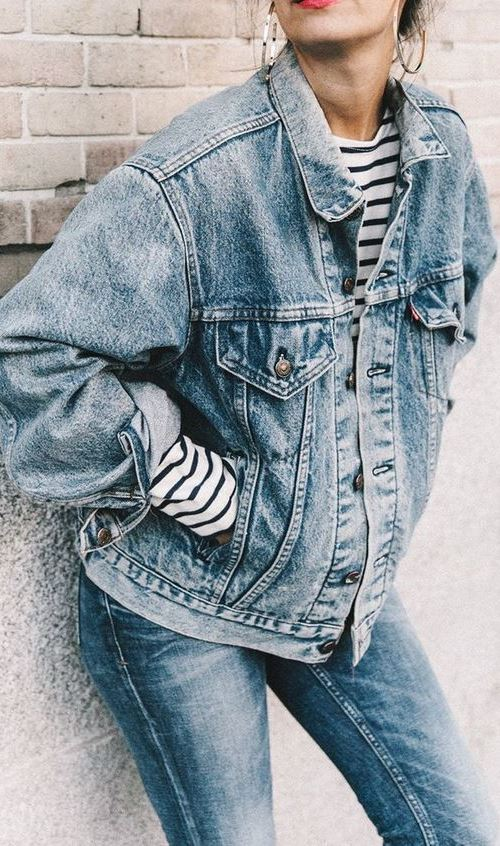 denim street style addiction : jacket + stripped top + jeans