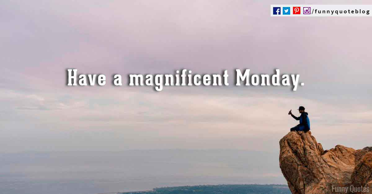Have a magnificent Monday.