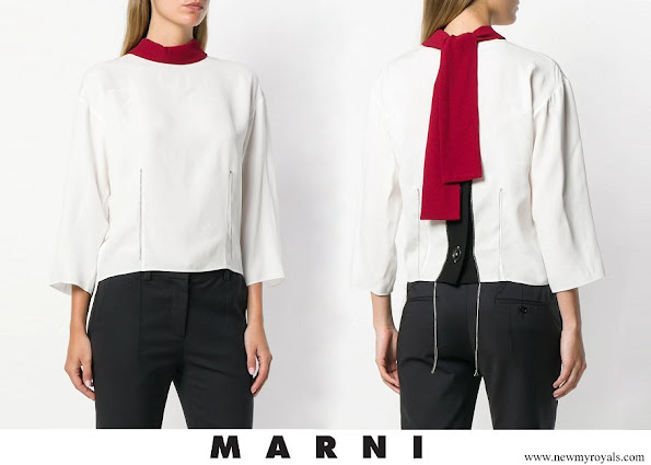 Queen Rania wore MARNI colour block blouse