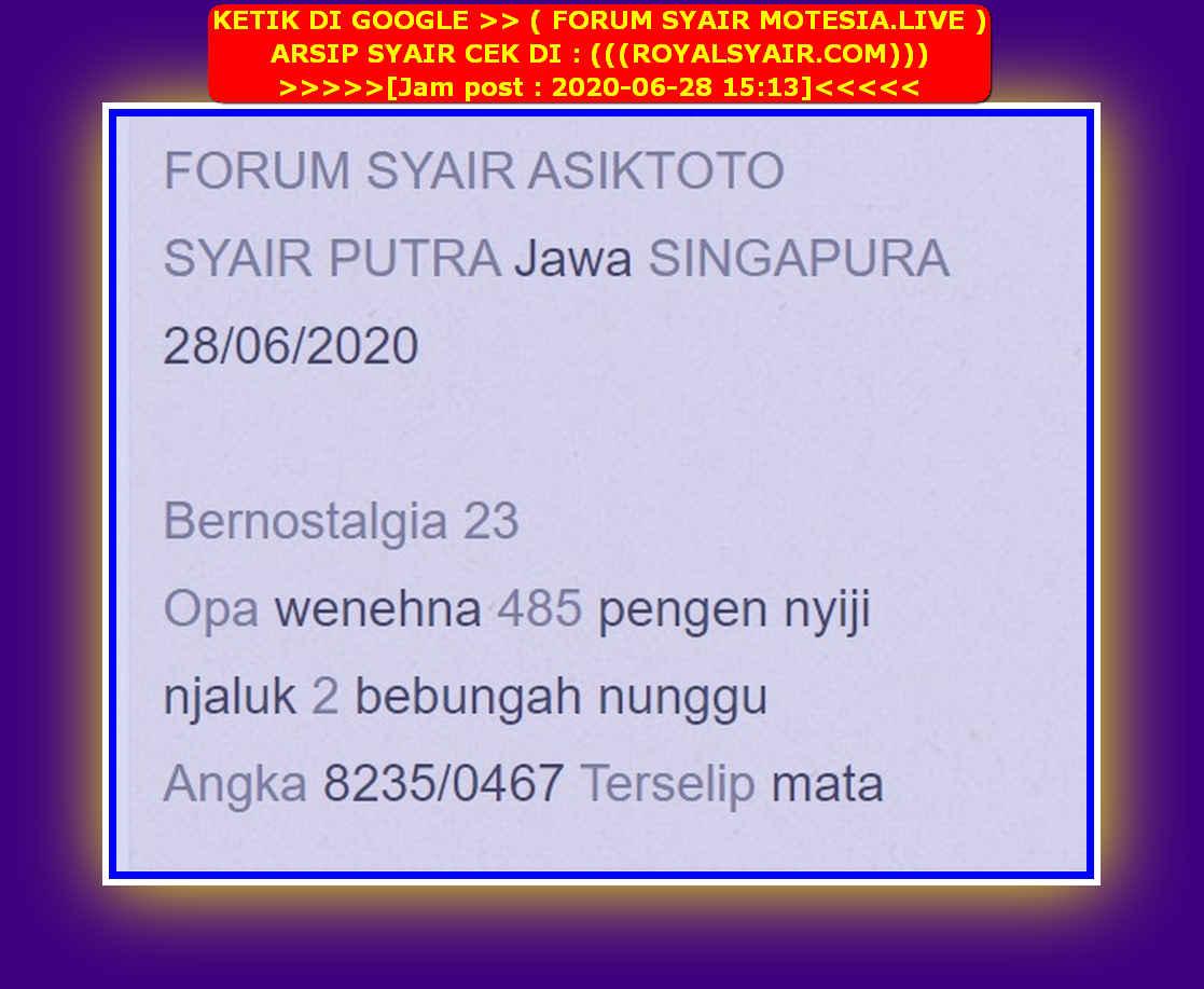Kode syair Singapore Minggu 28 Juni 2020 13