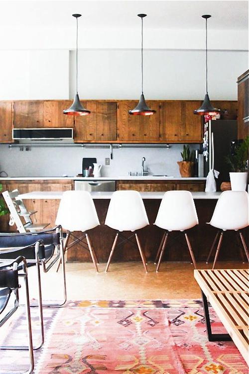 rustic kitchen with kilim rug
