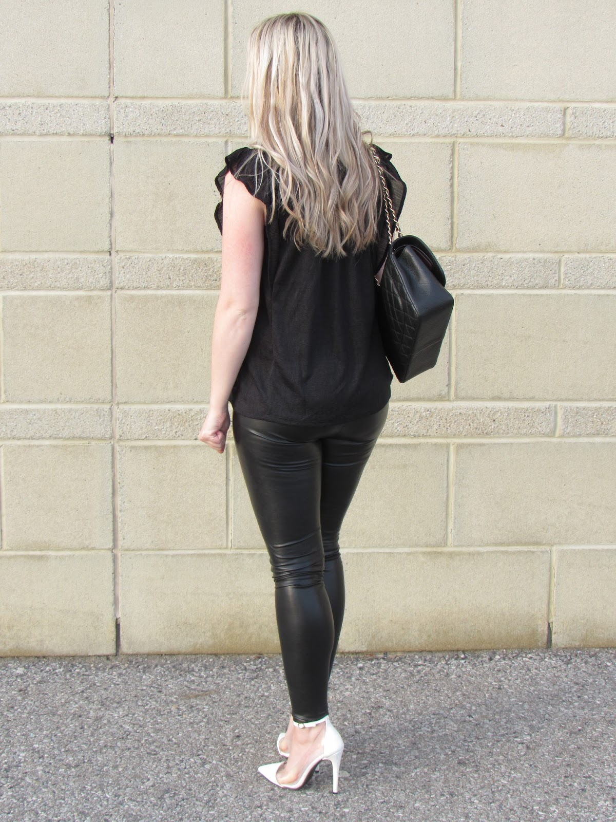 b305663c16a9ea Leather Leggings  Aritzia Top  H   M -can t find it online anymore  (similar) Coat  Costa Blanca (old) Shoes  Sirens (old)