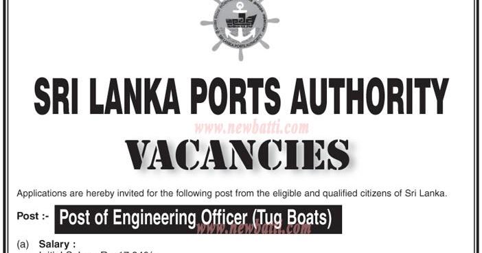 Engineering Officer (Tug Boats) - Sri Lanka Ports Authority-2016-05