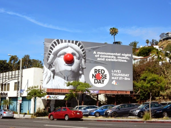 Special Red Nose Day Statue of Liberty billboard Sunset Strip