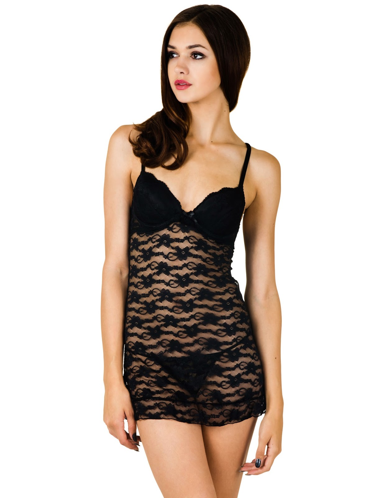 363f9c5d27 Sheer Lace Chemise (W  Built in Push-Up) and Matching Thong