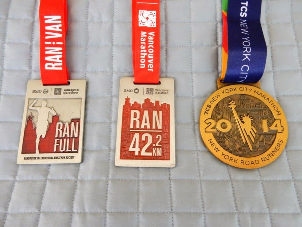 Vancouver New York City Marathon finisher medals