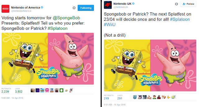 SpongeBob SquarePants Splatfest Splatoon Patrick Nintendo of America UK Twitter accounts announcement