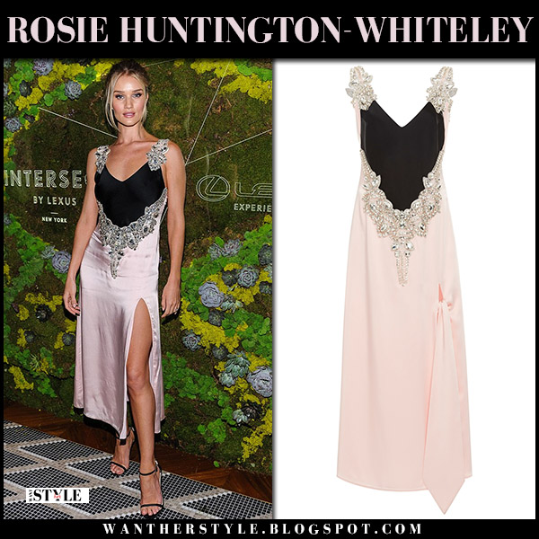 Rosie Huntington-Whiteley in pink and black embellished slip dress christopher kane model glamorous style august 14