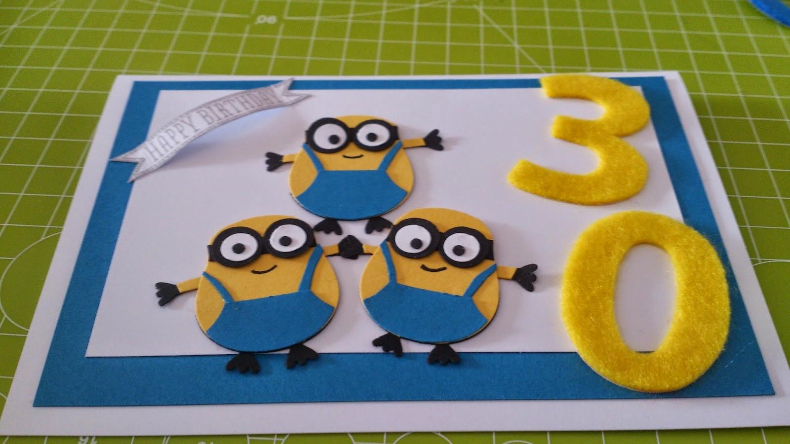 Stempelmadels Geburtstagskarte Zum 30 Geburtstag Minions