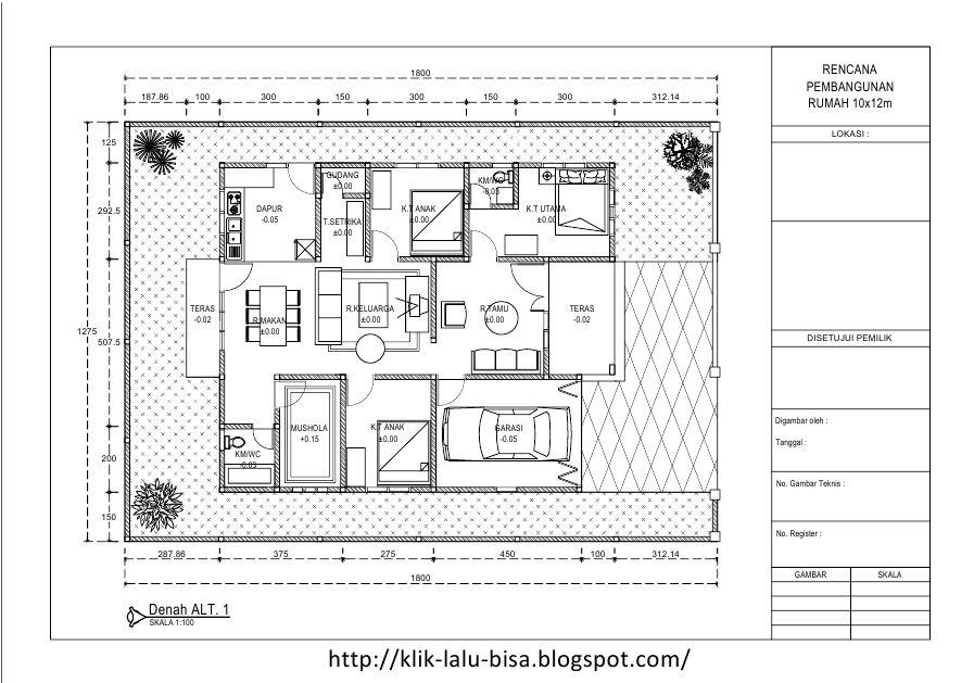 Download File .dwg AutoCAD Referensi Denah Rumah Type 120m2 (10x12m) GRATISS   Blogger Langgong