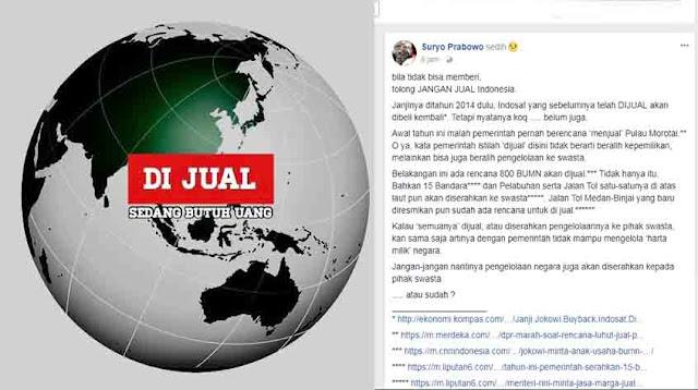 Letjen J.S Prabowo Ke Jokowi: Bila Tidak Bisa Memberi JANGAN JUAL Indonesia