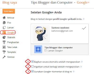 Mengenal fungsi google+ di blogger