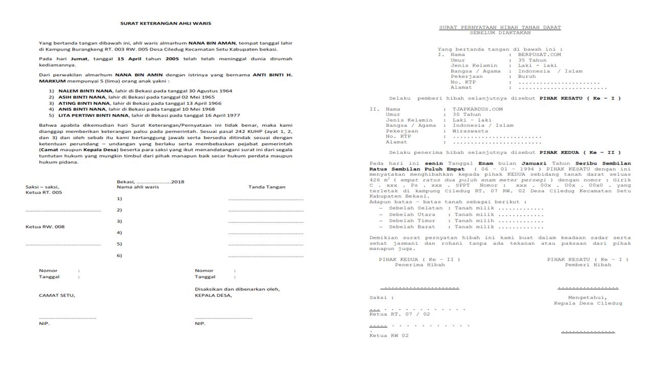 Contoh Surat Pernyataan Ahli Waris Tanah