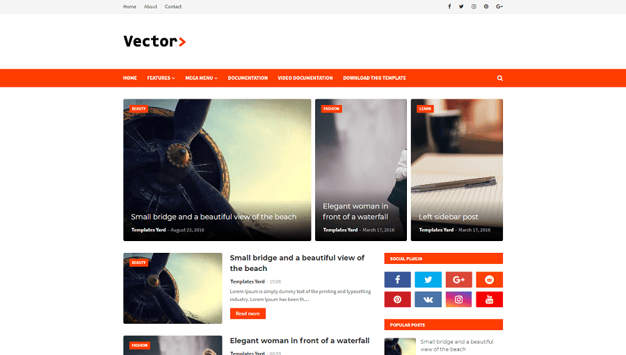 Vector v1.0 - Responsive Blogging Blogger Template