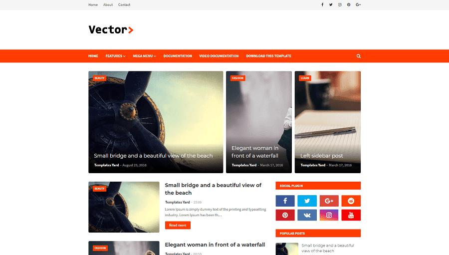 Vector v1.0 - Responsive Blogging Blogger Template