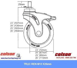 Kích thước Bánh xe cao su càng nhựa ty ren M12 Colson phi 150 | STO-6854-448 sử dụng ổ bi