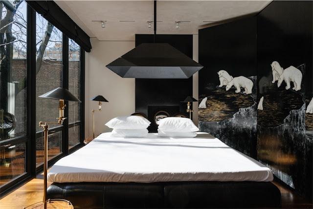 dormitorio con biombo lacado chicanddeco