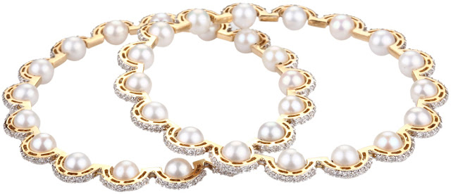 Entice Jewelry Akshaya Tritaya Collection Pearl Bangles in yellow gold