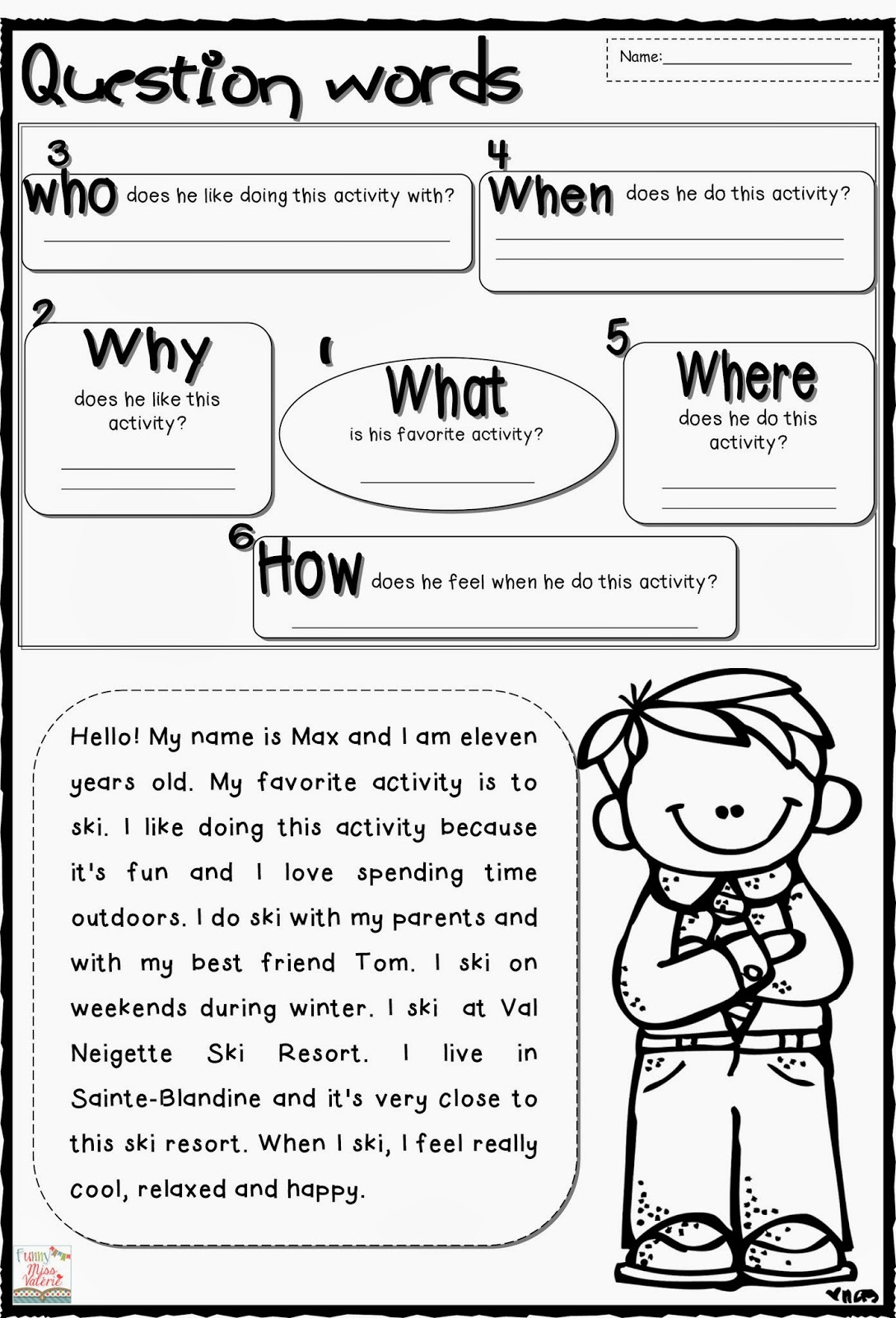 Printable Wh Question Worksheet