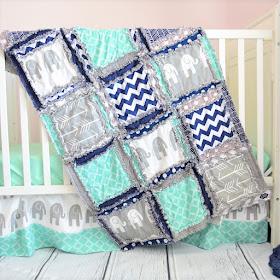 elephant-crib-set-mint-navy-blue-gray-elephant-nursery-bedding