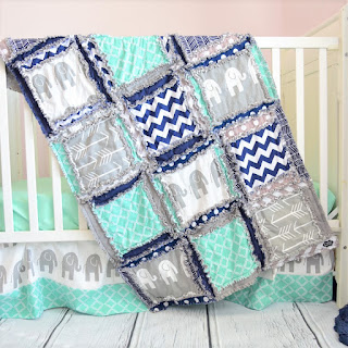 elephant-crib-set-mint-navy-blue-gray-elephant-nursery-bedding