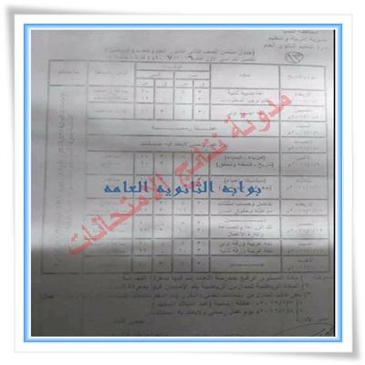 جدول امتحانات الصف الاول والثانى الثانوى لمحافظة المنيا 2017 الفصل الدراسى الاول