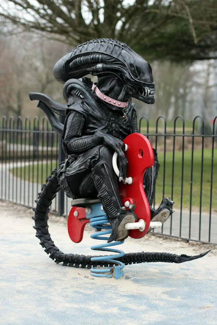 Funny Alien at the playground picture