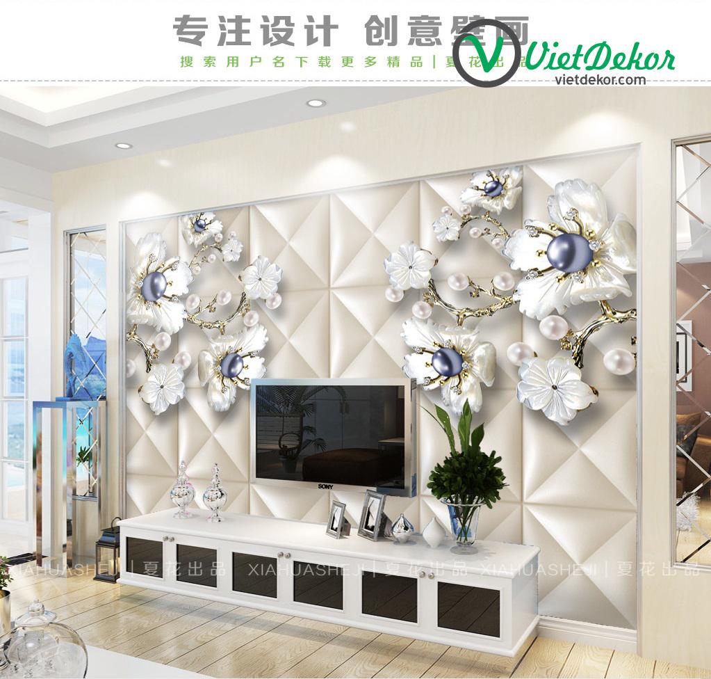 Tranh dán tường 3d hoa ngọc trai trang trí