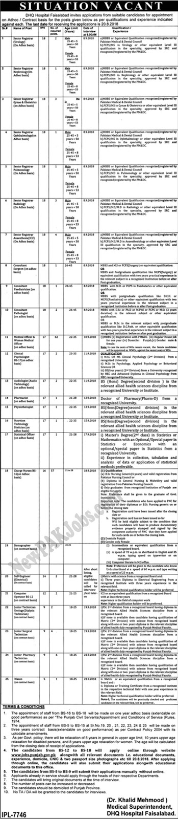 August 2018 Jobs in DHQ Faisalabad,