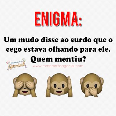 Enigma: Um mudo disse ao surdo que o cego estava olhando para ele.