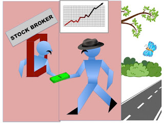 Picture depicts investor walking to the stock broker to purchase shares