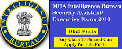 MHA Intelligence Bureau Security Assistant/Executive Exam 2018
