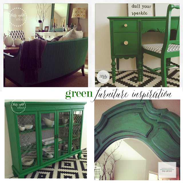 green furniture, green desk, green hutch, green mirror, chalk paint, milk paint, emerald green, general finishes, annie sloan, refinished furniture in green paint, painting upholstery