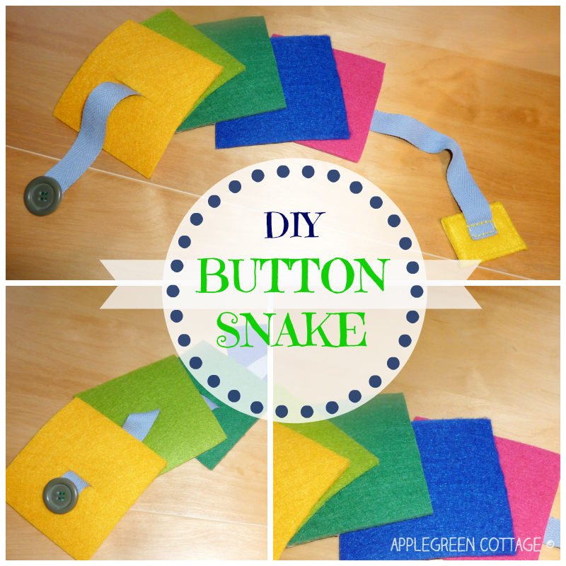 I've got a COLORFUL felt BUTTON SNAKE for you today - made in a moment, requiring really little sewing skills. It's one of the all-time favorite toys among toddlers, encouraging learning buttoning and fine motor skills through play.