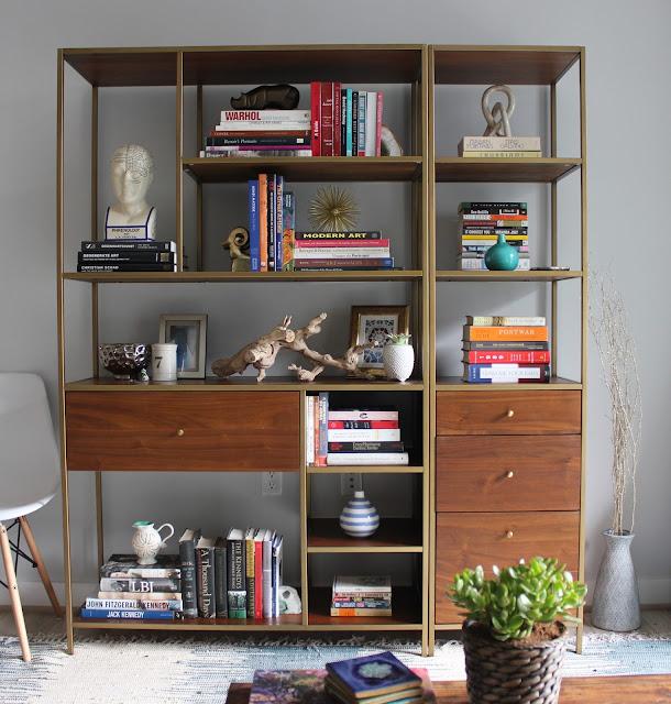 West Elm book shelf bookcase nook styled