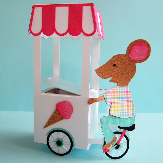 Hints for using up scraps with the Silhouette using Adhesive Cork and making a 3D mouse ice cream cart . Janet Packer for Silhouette UK Blog