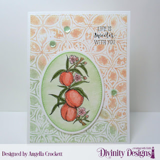 Divinity Designs Stamp Set: Peach Branch, Mixed Media Stencil: Petals, Custom Dies: Pierced Ovals, Ovals, Pierced Rectangles