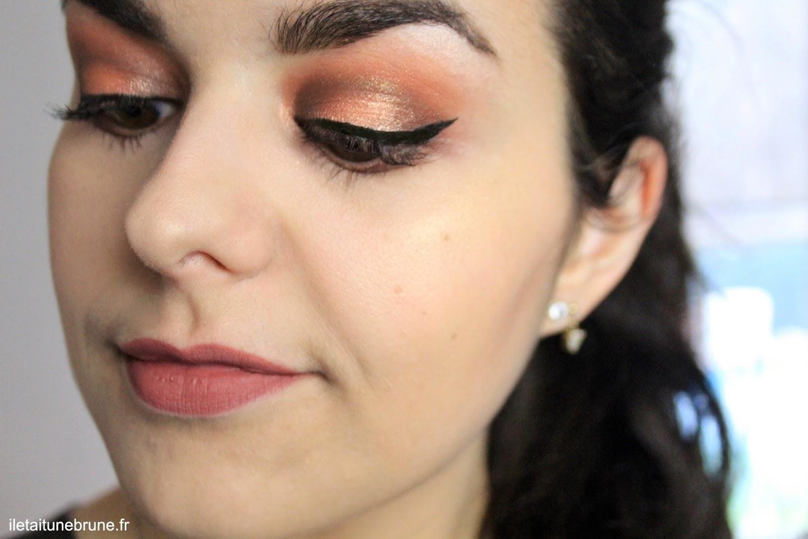 maquillage tangerine et rouille