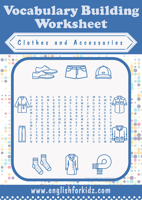 Clothes and accessories word search worksheet
