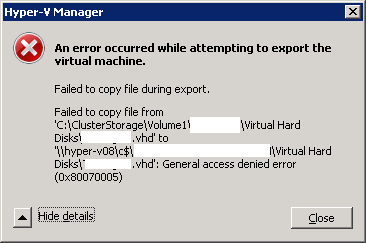 Ayman's Tech Blog: Permissions for exporting Hyper-V virtual