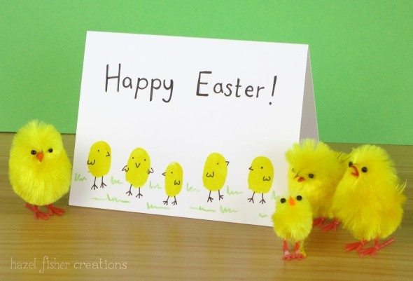Finger print Easter chick cards - hazelfishercreations