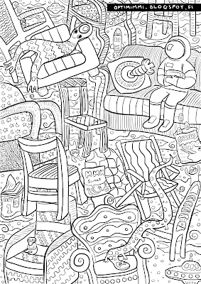 A coloring page of chairs floating in space / Värityskuva tuoleista avaruudessa