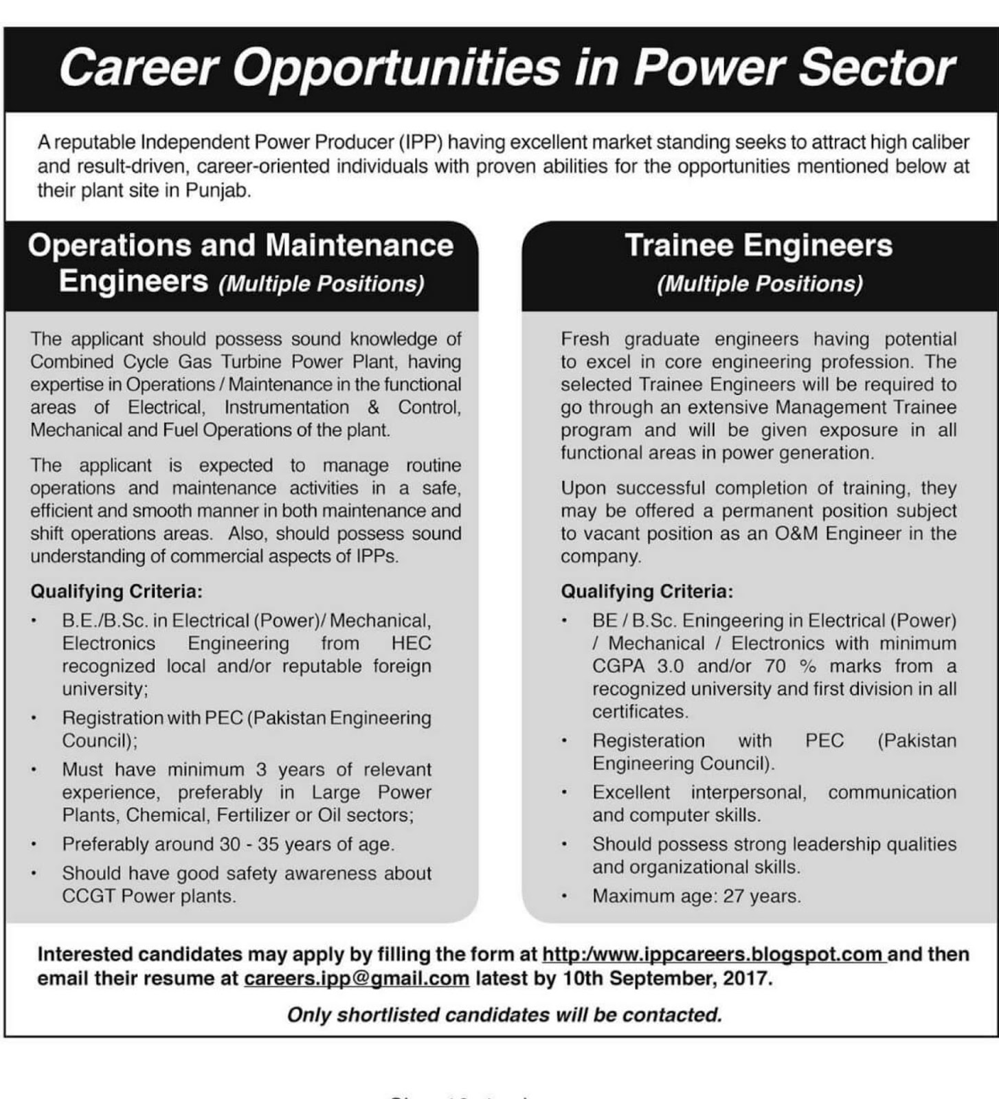 Oil and Gas Engineering Jobs Trainee Engineer KAPCO Power sector