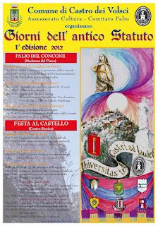 """Castro dei Volsci, al via la 1^ edizione de """"I Giorni dell'Antico Statuto"""""""