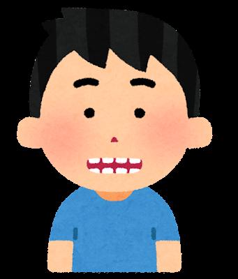 すきっ歯の人のイラスト(男性)