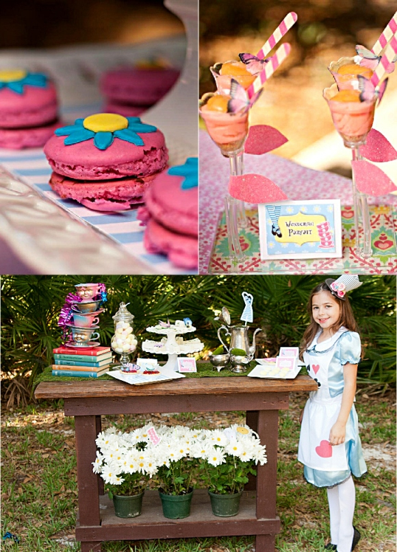 Alice in Wonderland Mad Hatter Tea Party Table - via BirdsParty.com